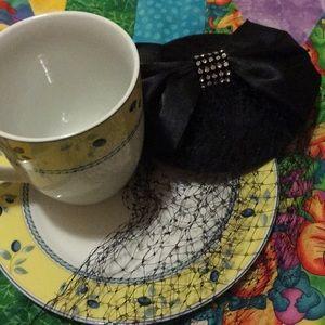 Vintage minitini hair piece with bow and net veil